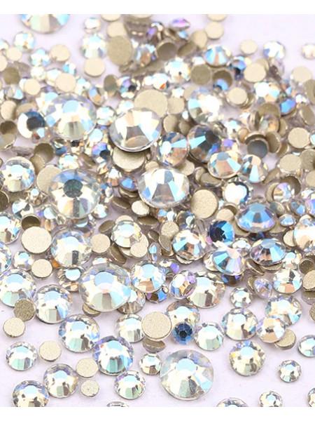 Стразы AB голографик blue,стекло (Упаковка 1440 шт., размеры ss3-ss20 mix)