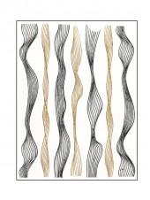 """3D наклейки для дизайна ногтей """"Волна"""" (черные+золото)"""