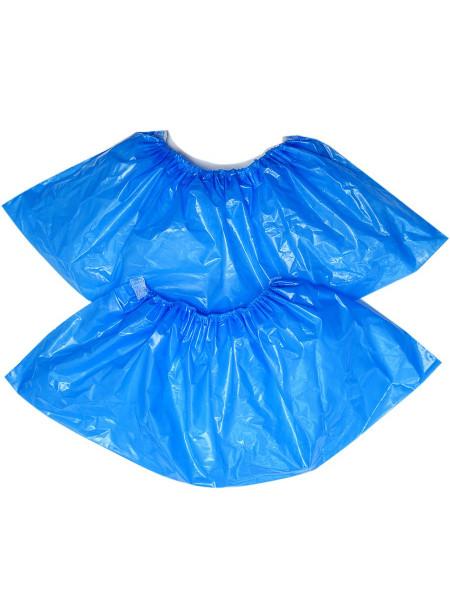 """Бахилы полиэтиленовые, особопрочные, голубые, """"ЭКСТРА ПЛЮС с двойной резинкой"""" 100 штук/50 пар"""
