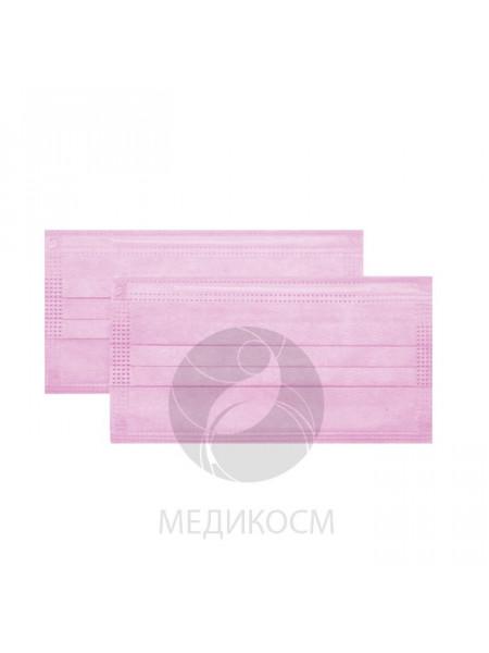 Маска 3-х слойная в коробке, нежно-розовая, 50 шт. (фильтр - мелтблаун)