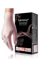 Перчатки виниловые BENOVY, L, прозрачные, 100штук/50пар