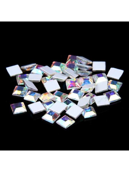 Стразы для ногтей квадрат 4мм. Crystal AB 10шт.
